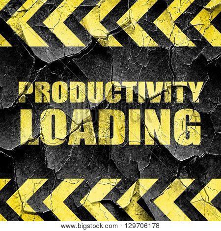 productivity loading, black and yellow rough hazard stripes