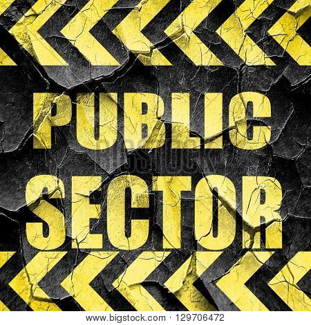 public sector, black and yellow rough hazard stripes