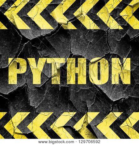 python computer language, black and yellow rough hazard stripes