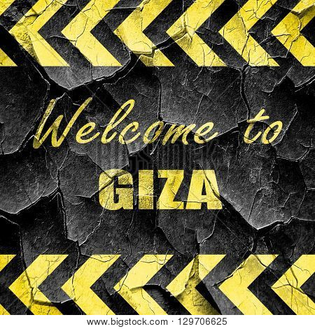 Welcome to giza, black and yellow rough hazard stripes