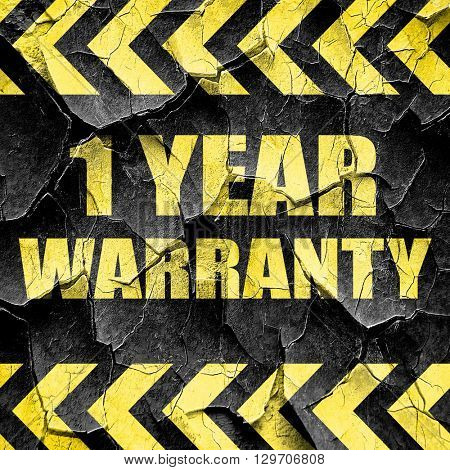 1 year warranty, black and yellow rough hazard stripes