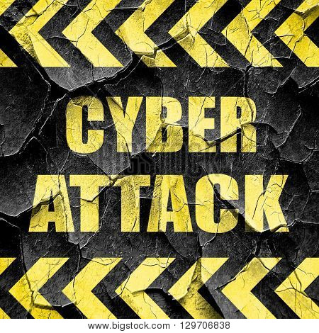 Cyber attack background, black and yellow rough hazard stripes