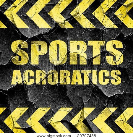 sports acrobatics sign background, black and yellow rough hazard
