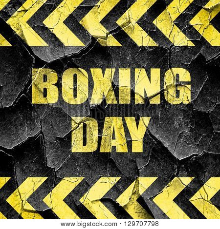 boxing day, black and yellow rough hazard stripes