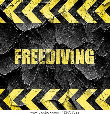 freediving sign background, black and yellow rough hazard stripe