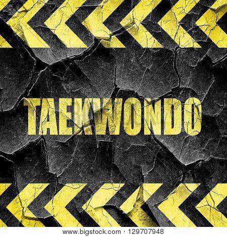 taekwondo sign background, black and yellow rough hazard stripes