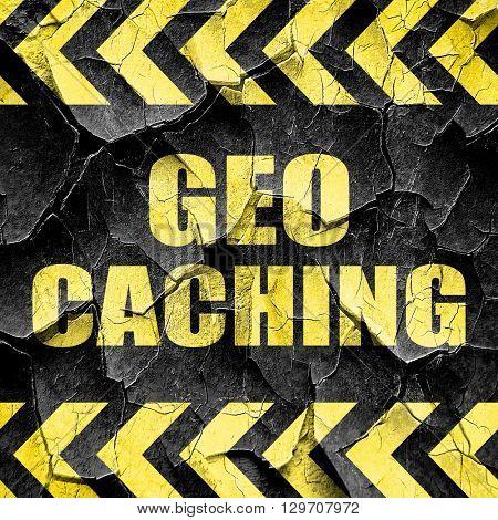 geocaching sign background, black and yellow rough hazard stripe