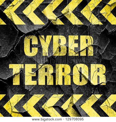 Cyber terror background, black and yellow rough hazard stripes