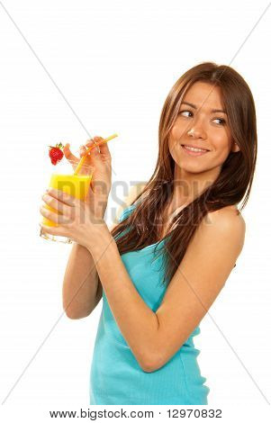 Healthy Lifestyle Brunette Woman Drink Orange Juice Cocktail