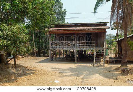 Koh Kong Cambodia - Mar 3 2015 : Khmer trandiation house in rural area