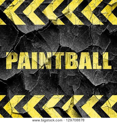paintball sign background, black and yellow rough hazard stripes