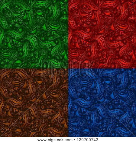 Set of seamless vintage pattern on color background. Green, red, brown, blue color ornament. Can be used for fabrics, wallpapers, wrapping design, scrap-booking, web sites, flyers, invitation, etc