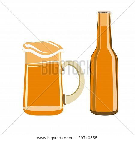 Beer bottle and  beer mug. Bottle of beer in flat style. Beer glass and beer bottle isolated on white background.