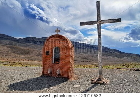 Cross Paramillos (La Cruz de Paramillo) in Villavicencio natural reserve. The Andes. Mendoza Province. Argentina