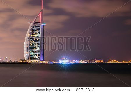 Burj Al Arab And Marina At The Sunset, Dubai