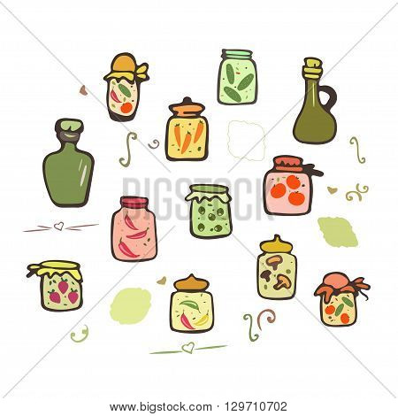 Doodle jars pickles. Preserved vegetables  in jars vector set. Hand drawing doodle pickles.