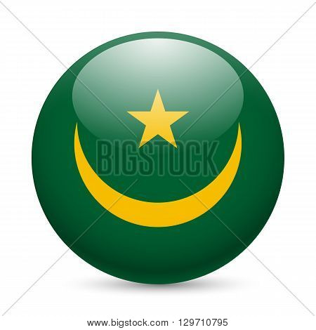 Flag of Mauritania as round glossy icon. Button with Mauritanian flag