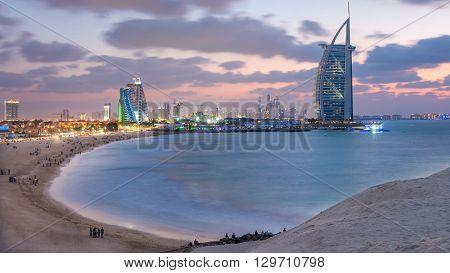 Burj Al Arab And Jumeirah Beach Hotel At The Sunset