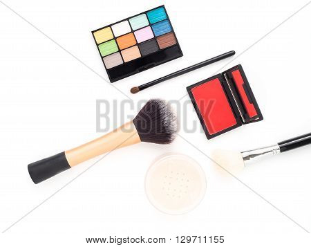Makeup cosmetics colorful collection - set of eyeshadow brush on powder make-up brushes isolated on white background