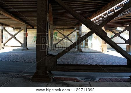 Pedestrians and motorists may pass through the York Avenue viaduct in downtown Joliet, Illinois.