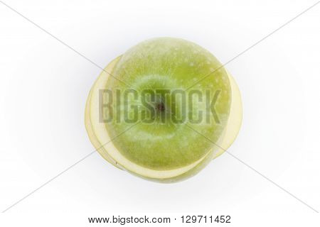 Sliced green apple on white background, stock photo