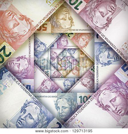 Brazilian Real Bills Background