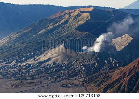 Mount Bromo volcano during sunrise, the magnificent view of Mt. Bromo located in Bromo Tengger Semeru National Park, East Java, Indonesia.