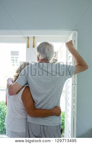 Rear view of senior couple looking through window at home