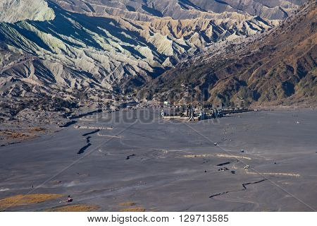 Layer Volcanic ash as sand ground of Mount Bromo volcano the magnificent view of Mt. Bromo located in Bromo Tengger Semeru National Park, East Java, Indonesia.