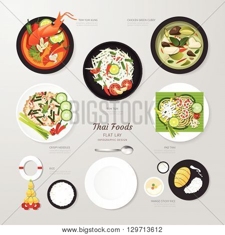 Infographic Thai foods business flat lay idea. Vector illustration hipster concept.can be used for layout advertising and web design.