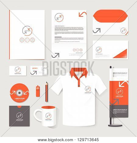 Vector brochure flyer magazine folder t-shirtcover booklet poster mockup design template/ layout stationery annual report A4 size/ set of corporate identity template.