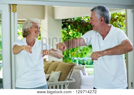 Happy senior couple exercising at home