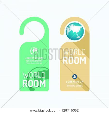 Paper door handle lock hangers concept world room banner vector set.