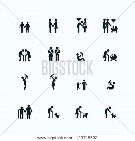 Family silhouette icons flat design vector set.