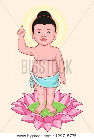 Buddha Birthday. Little Buddha stands on lotus flower. Illustration in vector format