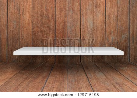 White shelf on wooden interior texture background, stock photo