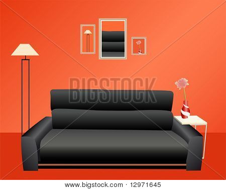 black sofa on red wall vector