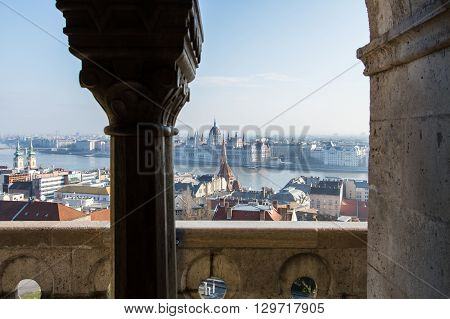 Beautiful photo on Budapest and Danube from the top .