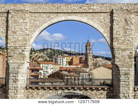 The Aqueduct Arches in the city of Teruel Spain. Spanish Renaissance.