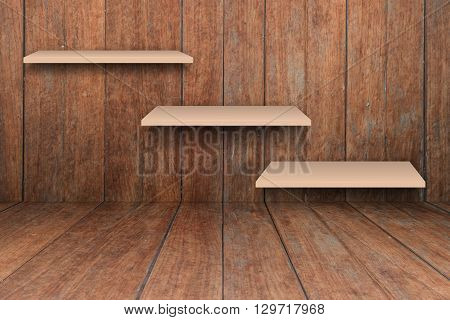 Three brown shelves on wooden interior texture background, stock photo