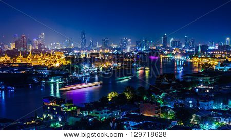 Long Exposure shot of Chao Phraya river at night