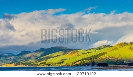 Panoramic view of Otago Harbour Southern island New Zealand