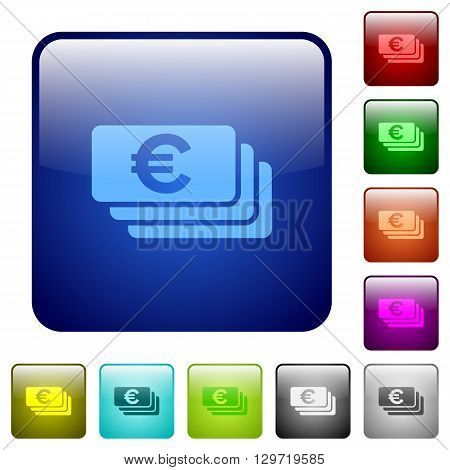 Set of color euro banknotes glass web buttons.