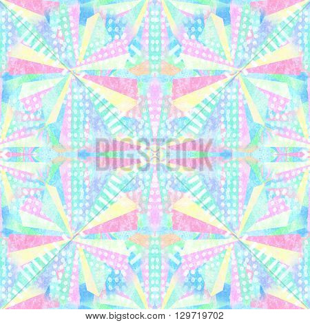 Abstract shapes seamless pattern. Repeat geometric psychedelic mosaic background.Kaleidoscope effect. Twisted colorful rays. Mixed triangles trapezoids rectangles polygonsdots. Abstract fireworks