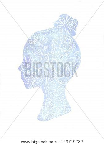 Hand drawn illustration. Ethnic stylized patterned profile of girl isolated on white background. Floral design. Dream daydream reverie bright personality inner light.