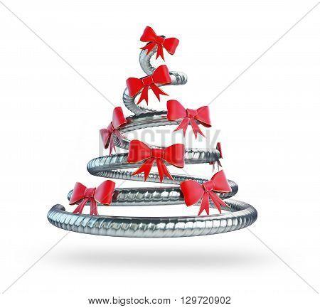 metal Christmas tree 3D rendering 3D illustration