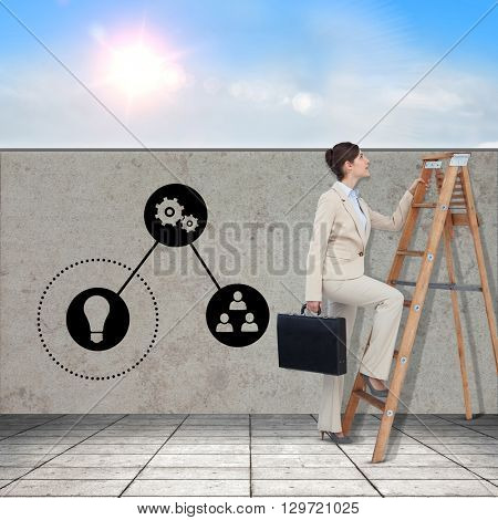 Businessman looking on a ladder against blue sky with white clouds