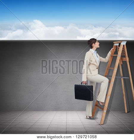 Businessman looking on a ladder against blue sky over clouds