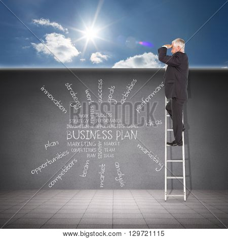 Businessman looking on a ladder against cloudy sky with sunshine
