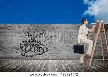Businesswoman climbing career ladder with briefcase against scenic view of blue sky